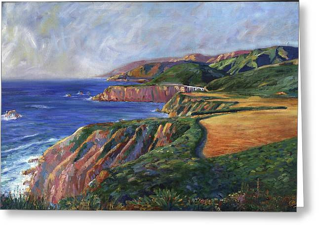 Bixby Bridge Paintings Greeting Cards - Big Sur Splendor Greeting Card by Philippe Plouchart