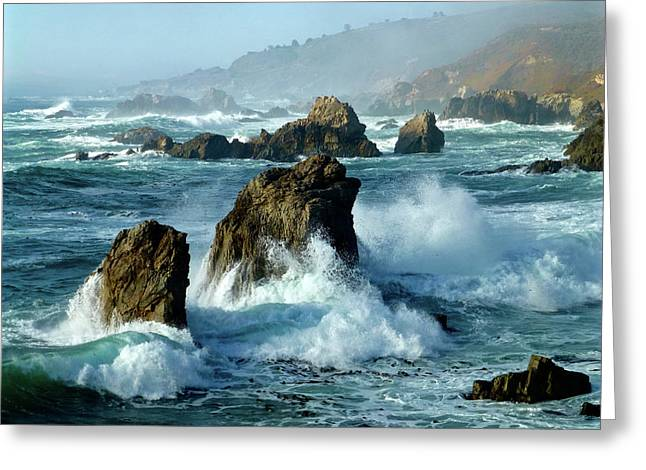 Big Sur Winter Wave Action Greeting Card