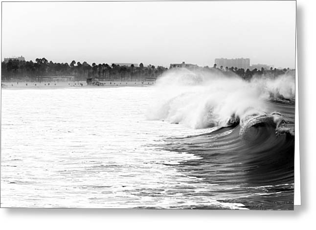 Big Surf At Santa Monica Greeting Card by John Rizzuto