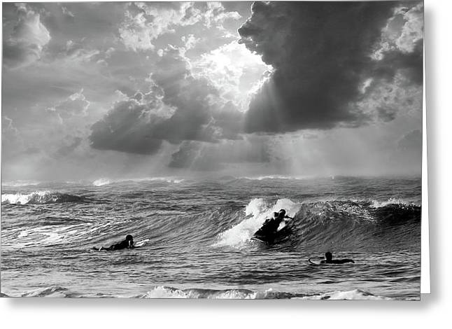 Greeting Card featuring the digital art Big Surf by John Hix