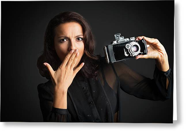 Big Surprise With Camera Greeting Card by Elena Riim
