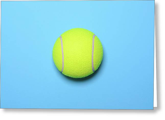 Big Tennis Ball On Blue Background - Trendy Minimal Design Top V Greeting Card
