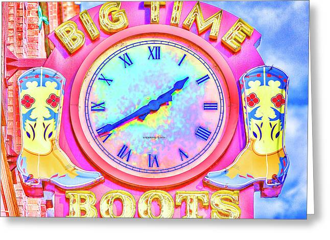 Big Time Boots - Nashville Hot Pink Greeting Card