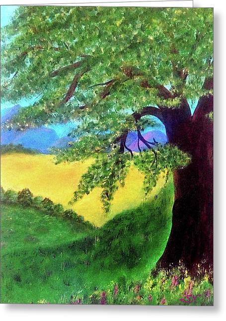 Greeting Card featuring the painting Big Tree In Meadow by Sonya Nancy Capling-Bacle