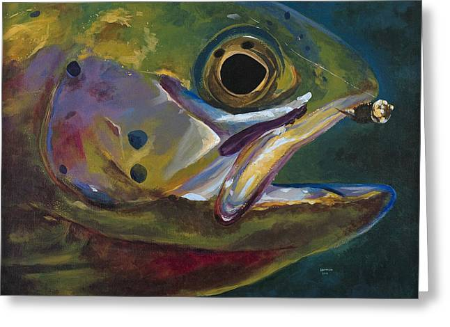 Big Trout Greeting Card by Les Herman