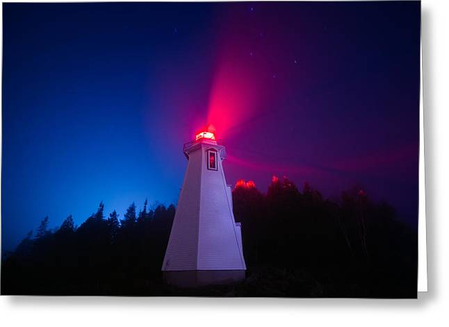 Big Tub Lighthouse In The Fog  Greeting Card
