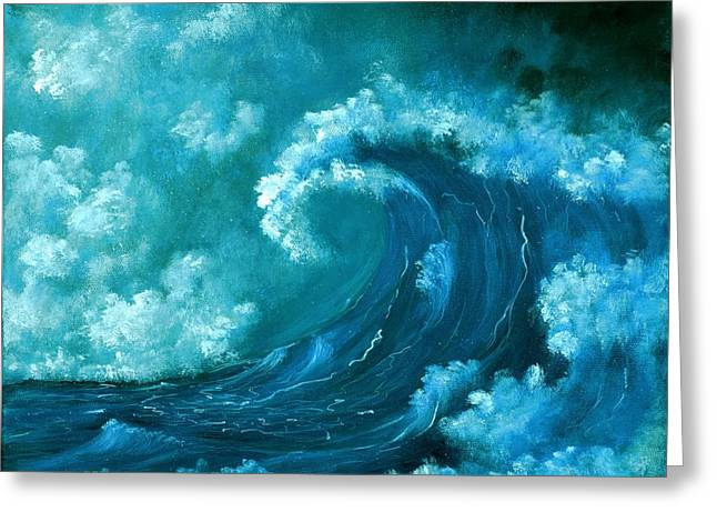 Greeting Card featuring the painting Big Wave by Anastasiya Malakhova