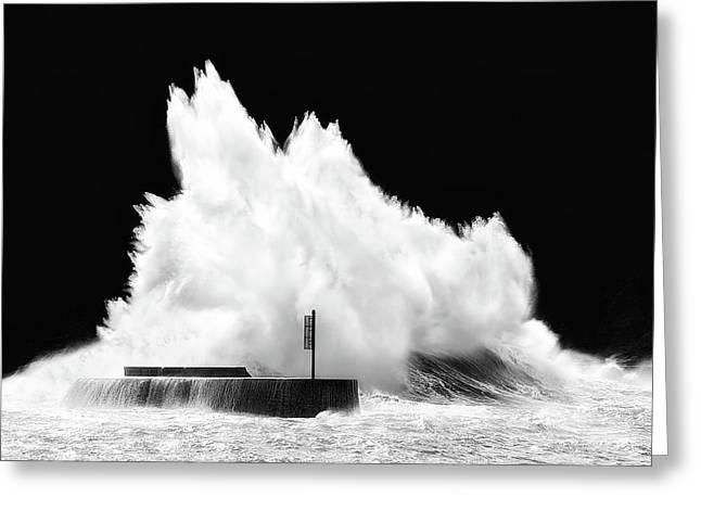 Big Wave Breaking On Breakwater Greeting Card