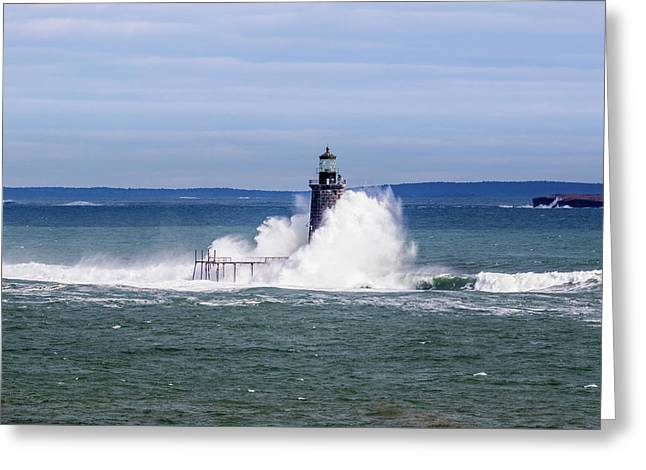 Greeting Card featuring the photograph Big Wave Hits Ram Island Ledge Light by Darryl Hendricks