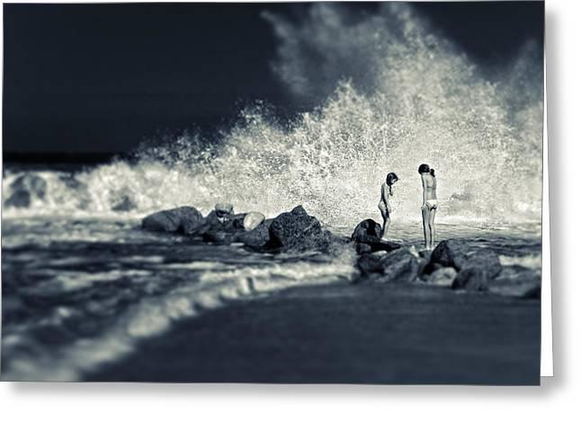 Big Wave Greeting Card by Silvia Ganora