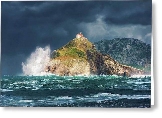 Big Waves Over San Juan De Gaztelugatxe Greeting Card