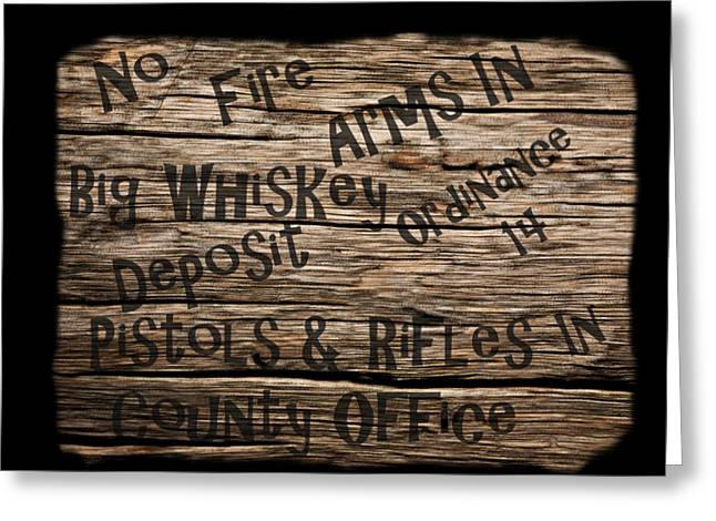 Big Whiskey Fire Arm Sign Greeting Card by Movie Poster Prints