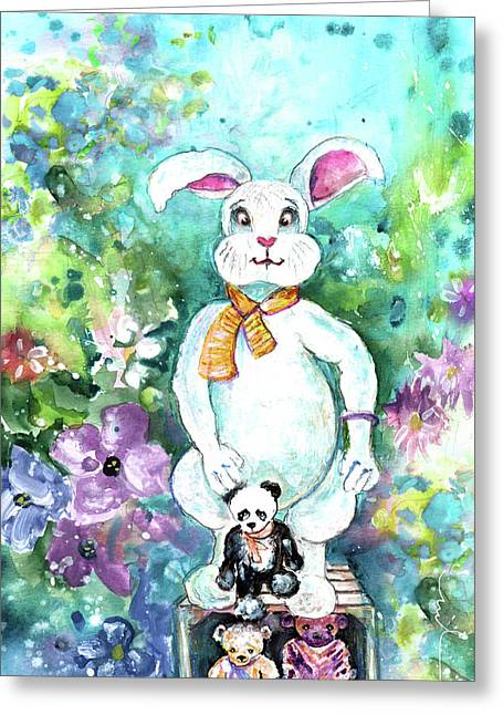 Big White Rabbit And Teddy Bears In A Flower Shop Greeting Card