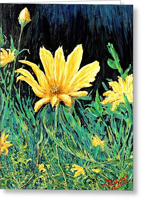 Greeting Card featuring the painting Big Yellow by Ian  MacDonald