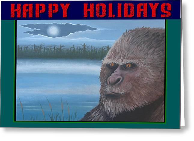Bigfoot Happy Holidays Greeting Card by Stuart Swartz