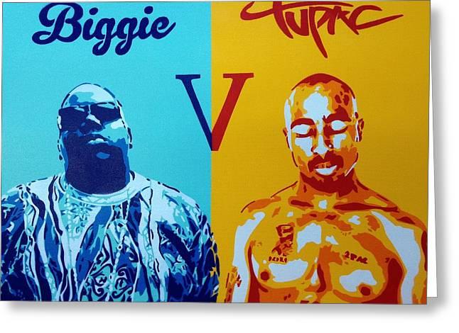 Biggie V Tupac Greeting Card