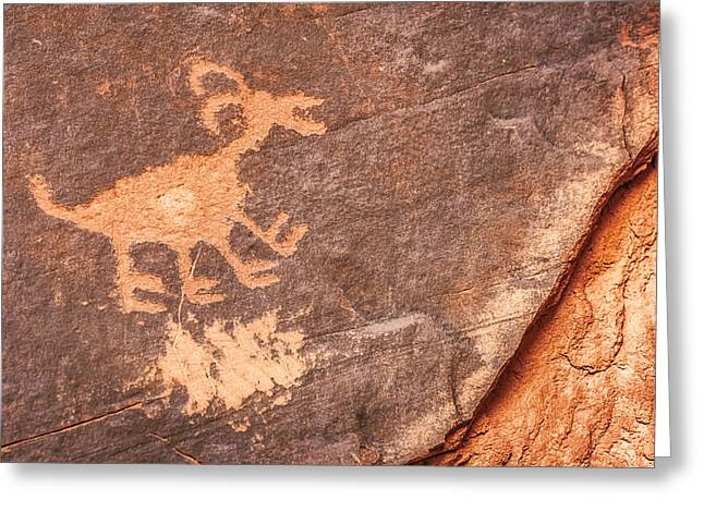 Bighorn Petroglyph Greeting Card by Susan Candelario