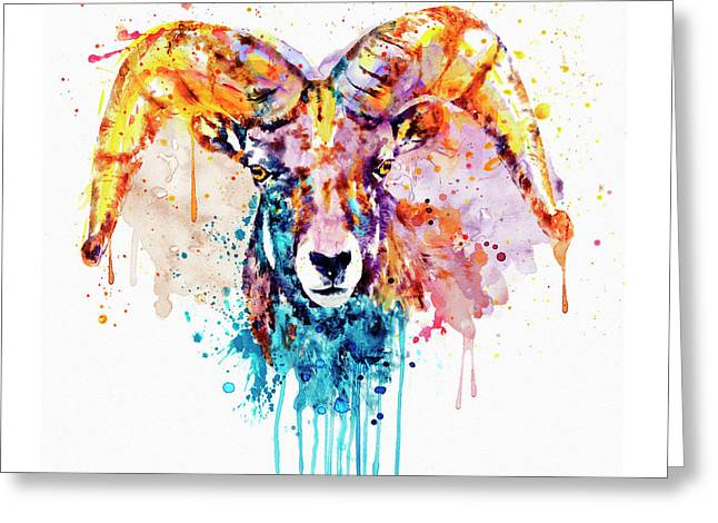 Greeting Card featuring the mixed media Bighorn Sheep Portrait by Marian Voicu