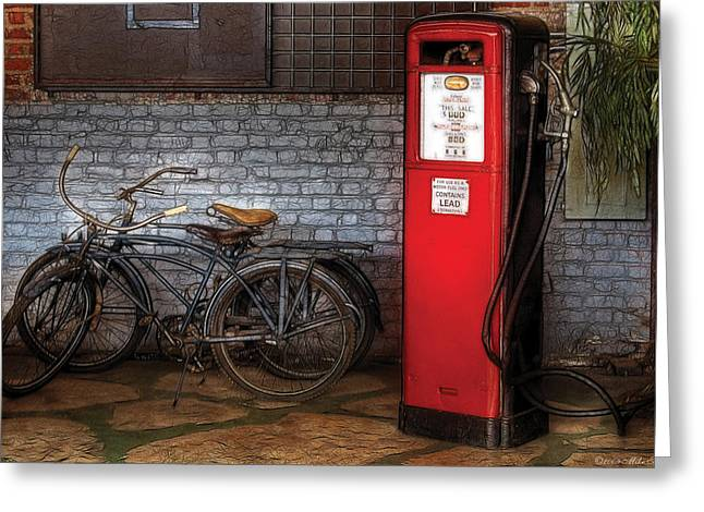Bike - Two Bikes And A Gas Pump Greeting Card by Mike Savad