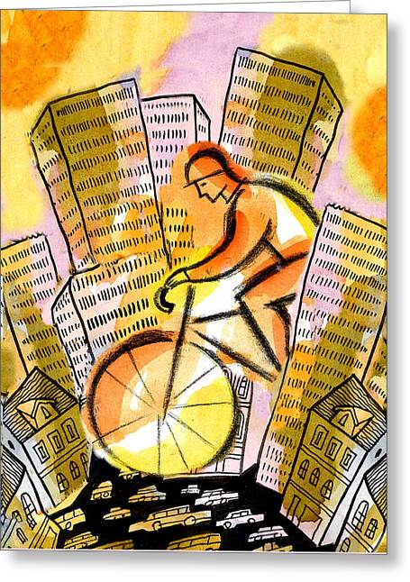 Bike And The City Greeting Card