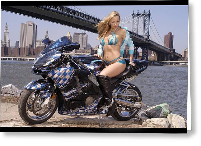 Bike, Babe, And Bridge In The Big Apple Greeting Card