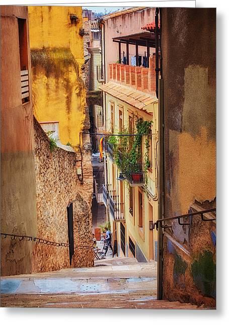 Bike Cafe On A Lane In Girona Greeting Card by Joan Carroll