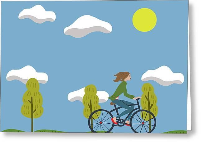 Bike Girl Greeting Card by Nicole Wilson