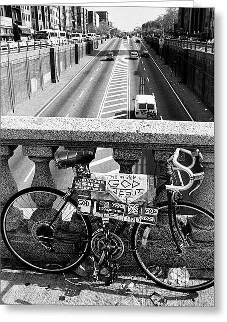 Greeting Card featuring the photograph Bike Grand Concourse Bronx by Dave Beckerman