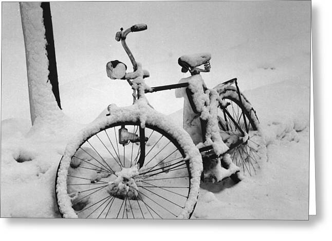 Bike In The Snow Christmas Card Greeting Card by German School