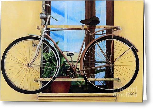 Bike In The Window Greeting Card by Marilyn McNish