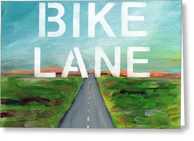 Bike Lane- Art By Linda Woods Greeting Card by Linda Woods