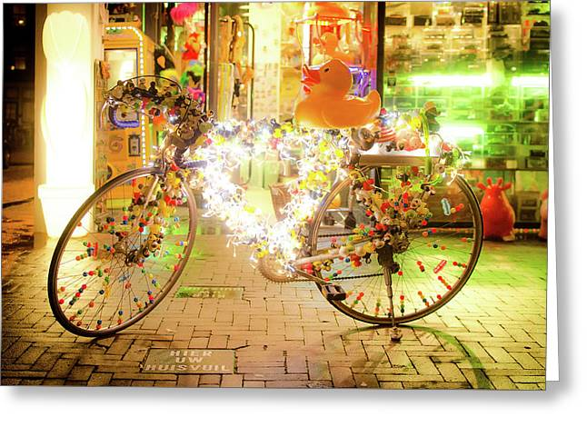 Bike Lights Greeting Card by Michael Weber