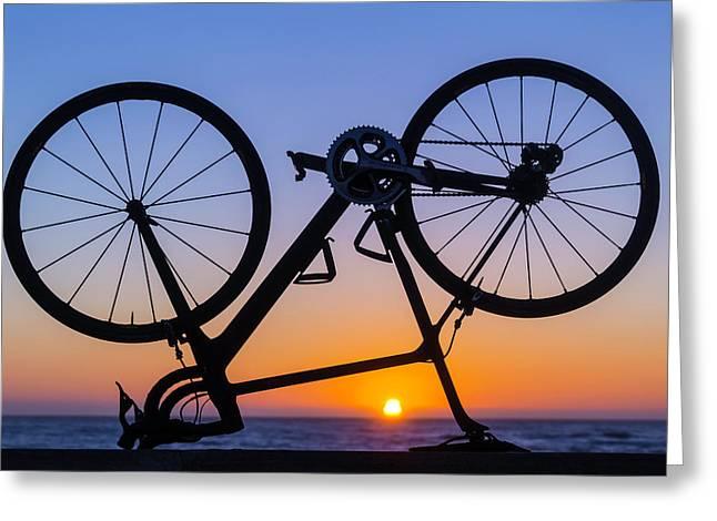 Bike On Sea Wall At Sunset Greeting Card