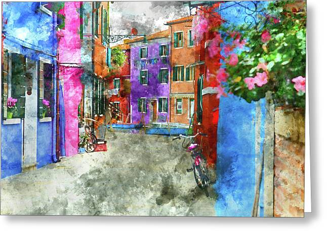 Bike On The Wall On The Island Of Burano - Venice, Italy Greeting Card