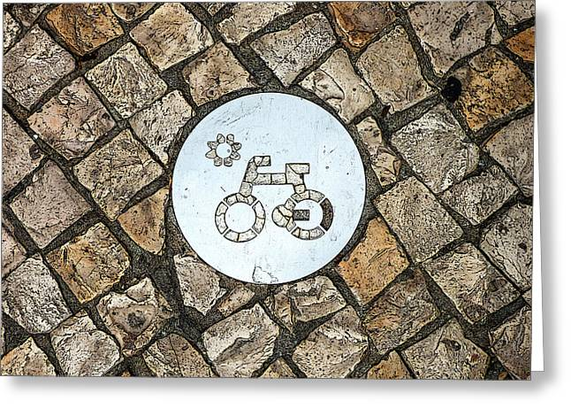 Bike Path Sign On A Cobblestone Pavement Greeting Card