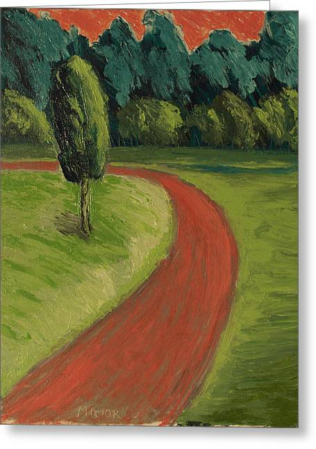 Bike Path Through The Greenbelt Greeting Card by Clarence Major