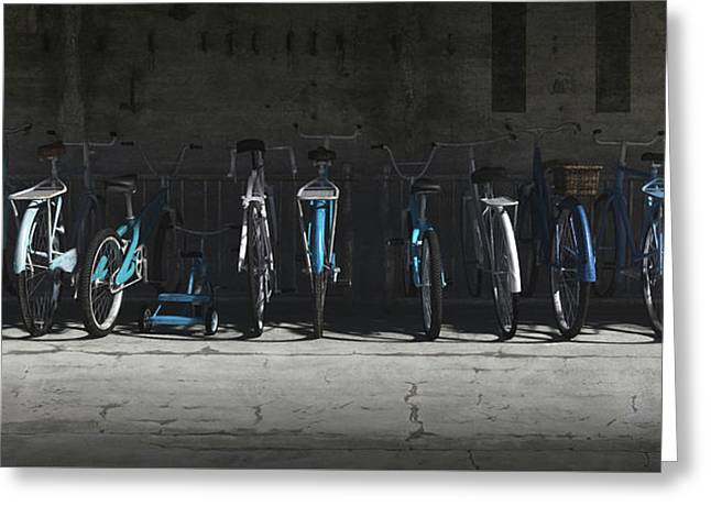 Bike Rack Blues Greeting Card by Cynthia Decker