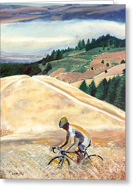 Bike Ride Above Bolinas Fog Greeting Card by Colleen Proppe