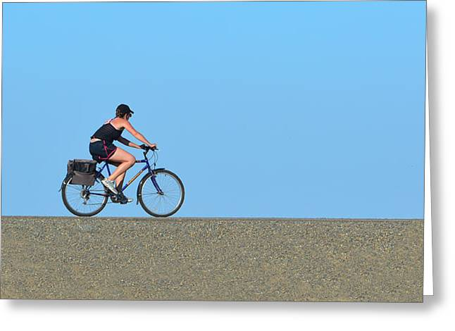 Bike Rider On Levee Greeting Card
