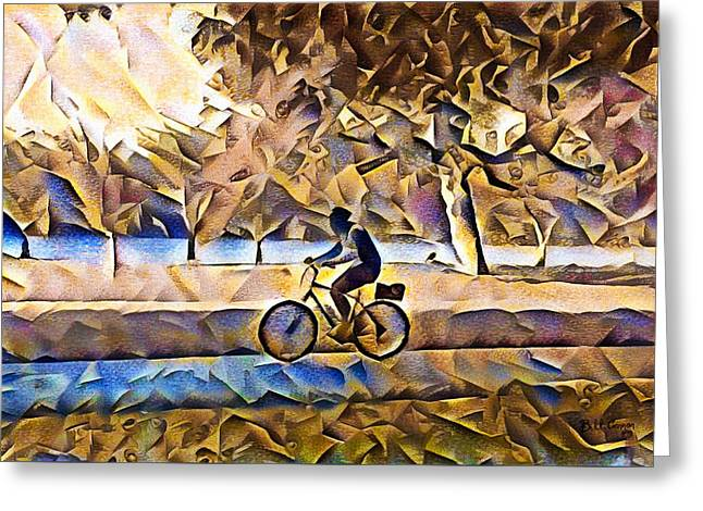 Bike Riding Along The River Greeting Card