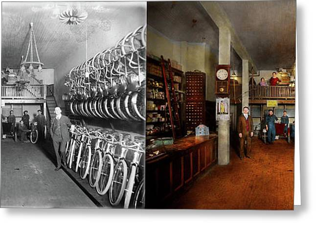 Bike - Store - Haverford Cycles 1919 - Side By Side Greeting Card
