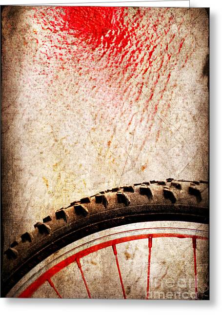 Bike Wheel Red Spray Greeting Card