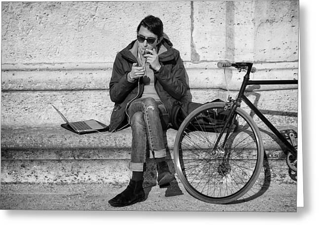 Biker In Paris Greeting Card