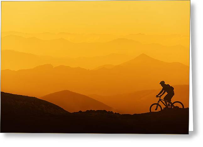 Biker Riding On Mountain Silhouettes Background Greeting Card