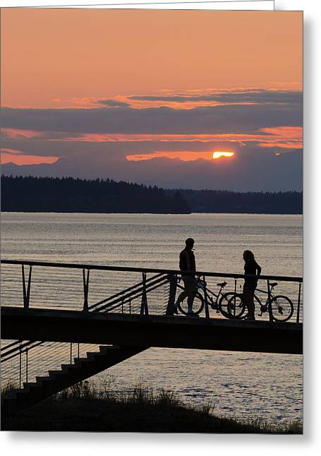 Bikers At Sunset Greeting Card
