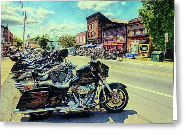 Bikes And Brews - Vintage Postcard Greeting Card by David Patterson