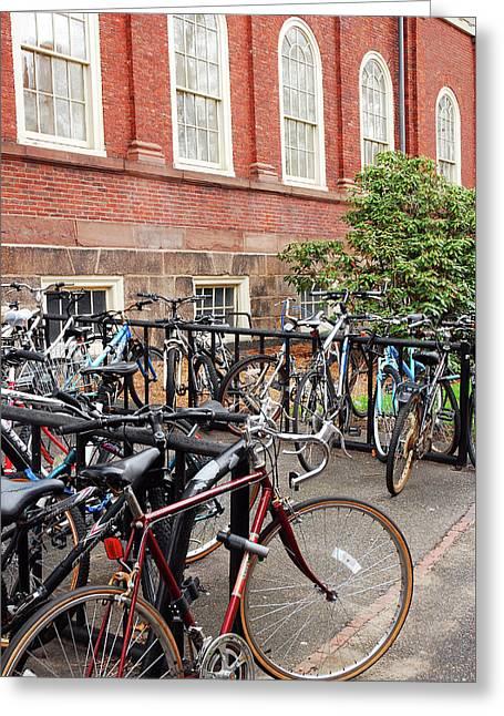Bikes At Harvard Greeting Card by James Kirkikis