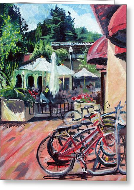 Bikes At The Depot Cafe Greeting Card by Colleen Proppe