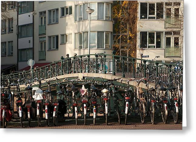 Bikes Bridge And Bird Greeting Card