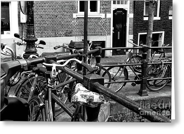 Bikes Hanging Out Mono Greeting Card by John Rizzuto